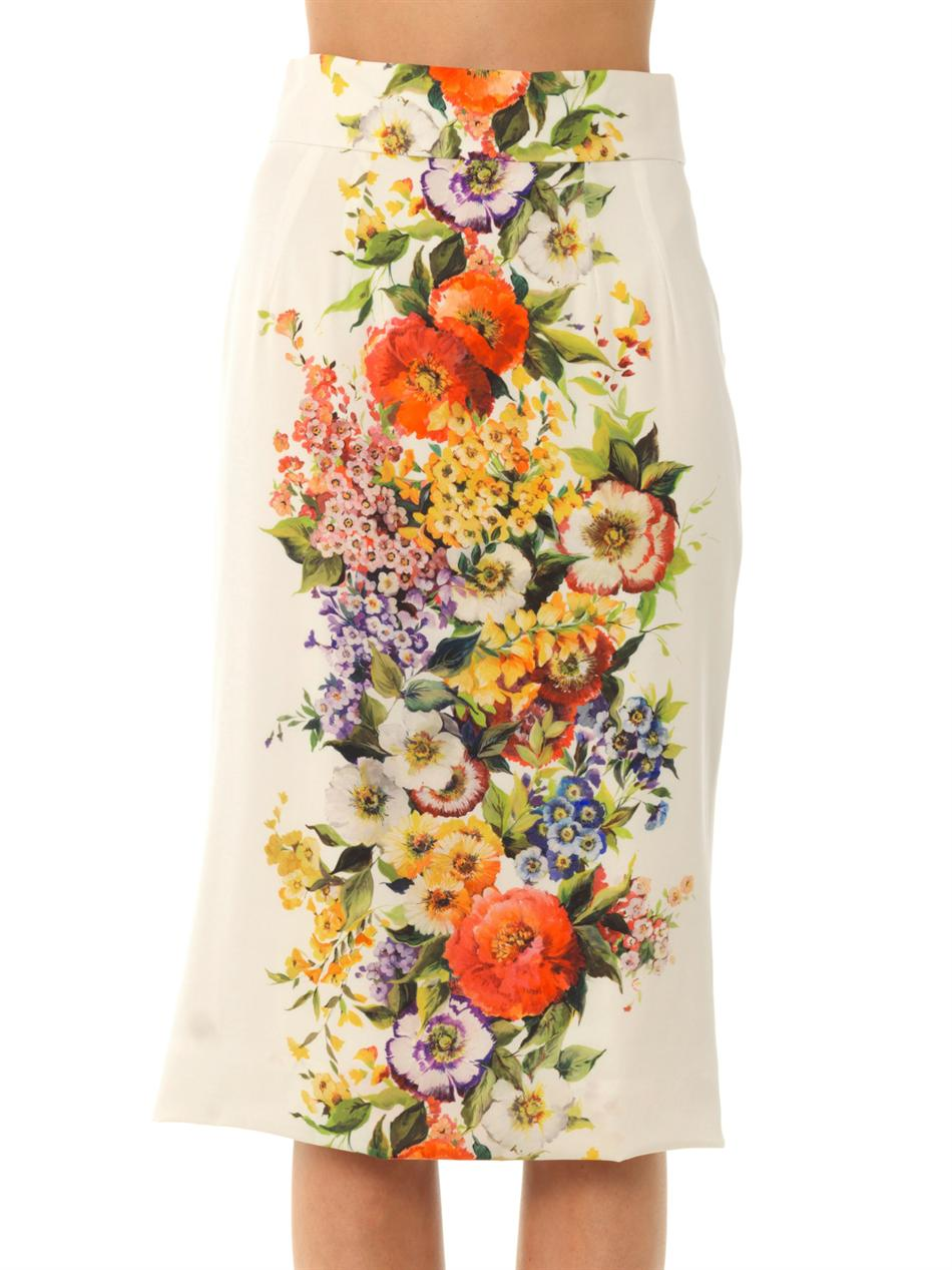 Floral-print silk-blend pencil skirt | Dolce & Gabbana | MATCH...