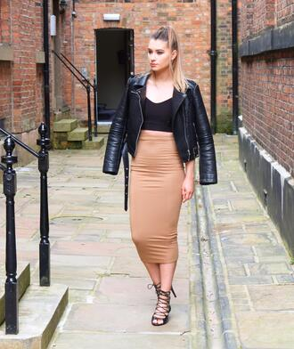 shoes black leather jacket black top brown pencil skirt black lace up heels blogger