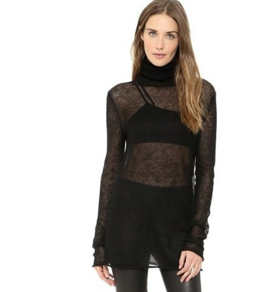 black sheer chic top style see through turtleneck shirt see-through vogue