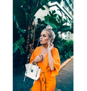 dress,tumblr,orange,orange dress,wrap dress,bag,white bag,blogger,fanny lyckman