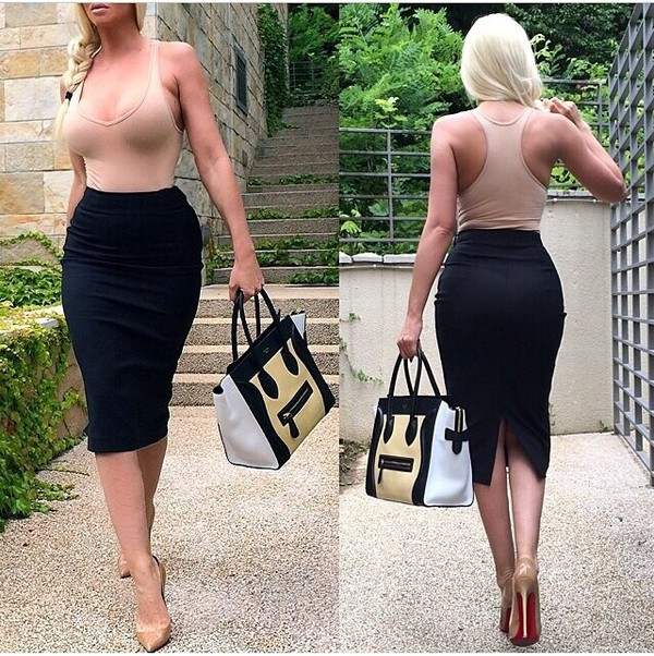 skirt bag celine celine bag nude top high waisted high waisted skirt black black skirt pencil skirt louboutin nude high heels pumps top tank top jelena karleusa office outfits