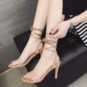 Women's Khaki Strappy Open Toe Clear Stiletto Heels Sandals