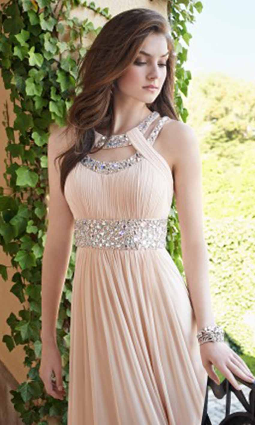 Grecian Sequin Double Collar Long Pink Prom Dresses KSP407 [KSP407 ...
