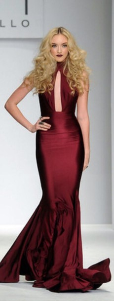 dress burgundy dress Michael Costello
