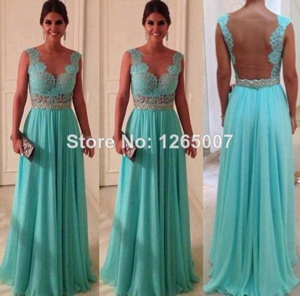 Aliexpress.com : Buy Hot New Arrival V Neck Nice Beaded Lace Top Open Back Chiffon A Line Evening Dresses New Fashion from Reliable lace fabric for dresses suppliers on SFBridal