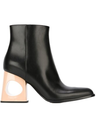 heel cut-out boots ankle boots black shoes