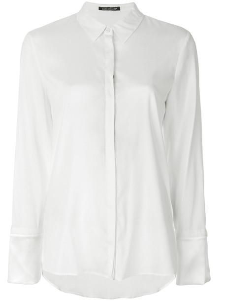 Luisa Cerano shirt women spandex white silk top