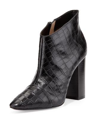 Pour la Victoire Lim Croc-Embossed Bootie, Black - Neiman Marcus