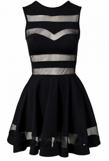 Black Mesh Cut Out Dress