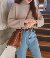 bag,asian,korean fashion,brown,shoulder bag,sweater,sunglasses,coat,belt,hat,dress,shoes,new,boots,bikini,earrings,hoodie,sweatshirt,sweater weather,heels,mom jeans,jacket,shirt,purse,nike,adidas,skirt,socks,sweatpants,bomber jacket