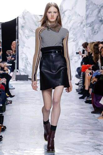 skirt top boots runway model fashion week 2016 paris fashion week 2016 carven