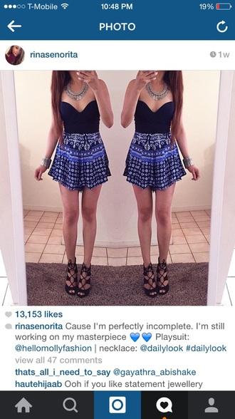 skirt jumpsuit top bodysuit necklace bracelets heel shoes