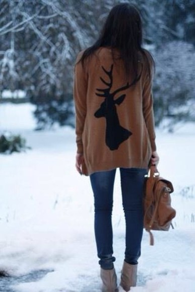 sweater winter sweater pullover deer