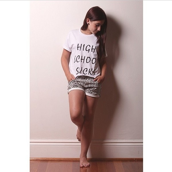 t-shirt white black writing highschool sicks