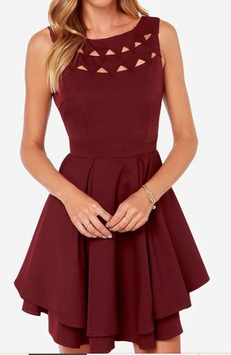 dress red cute red dress cut-out dress cute outfits skater dress fit and flare dress