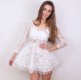 dress white dress lace dress floral lace see through dress