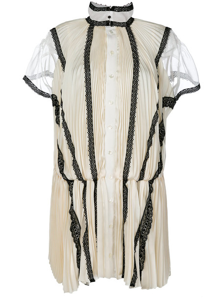Sacai dress shirt dress women lace white