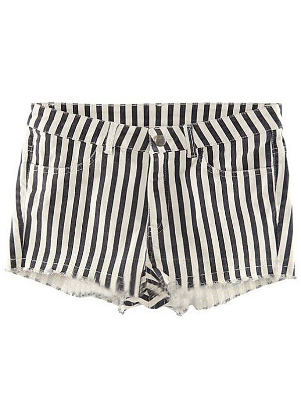 Black & white vertical striped low waisted pockets slim hot pants
