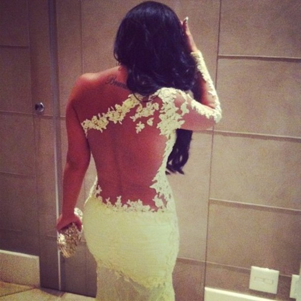 Dress Lace White Openback One Sleeve Tatto Tattoo See Through