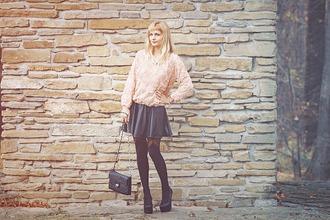 baby pink blogger bag jumper blouse roses charmeuse tights