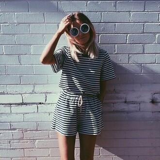 jumpsuit black white black and white sunglasses