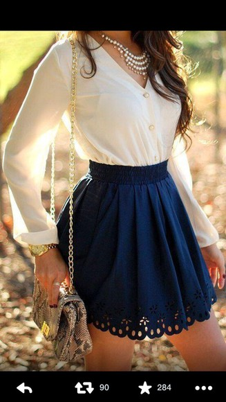 blue blue skirt white dark blue white shirt flowy flowy skirt flowy shirt skirt