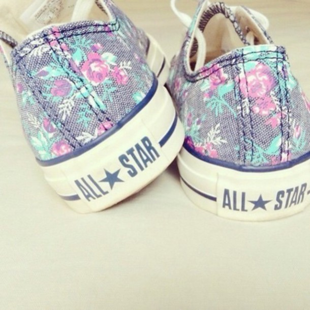 shoes converse flowers fashion girly cool
