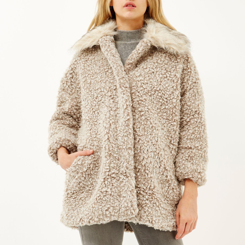 Beige Soft Teddy Fur Coat