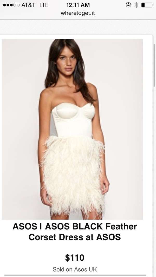 dress asos feather dress corset dress feathers