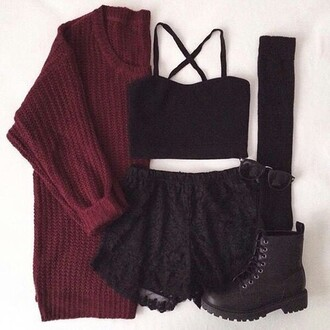 shorts black shorts top crop tops black crop top bustier bustier crop top bustier top cardigan sweater combat boots black combat boots shoes