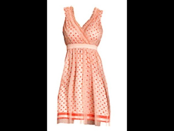 dress peach dresses polka dots polka dot dress ruffles v neck dress