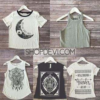 top grey t-shirt moon and sun hand of fatima
