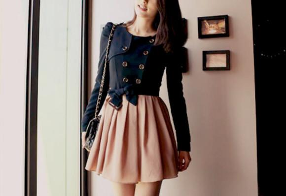 bottoms blue & pink dress