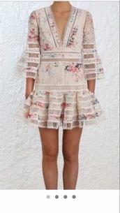 dress,floral,designer,pink,cream,lace,v neck