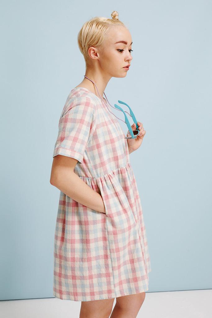 Shirt smock dress pink check