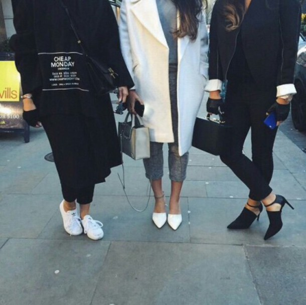 coat sweater cheap monday logo black text tee white shoes dress