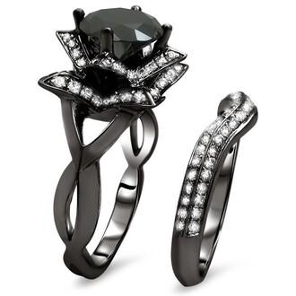 jewels lotus flower ring set black ring set black gold ring set black round diamond ring set bridal ring set wedding ring set 2.0ct round cut black diamond engagement ring lotus flower bridal set evolees.com