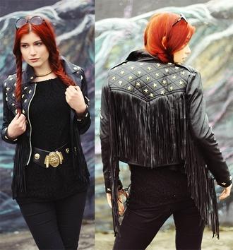 jacket friged biker jacket leather fringe spikes cool fashion black