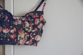 bralette,bustier,corset top,flowers,print,bra,black underwear,red underwear,pink underwear,green underwear,white lingerie,underwear