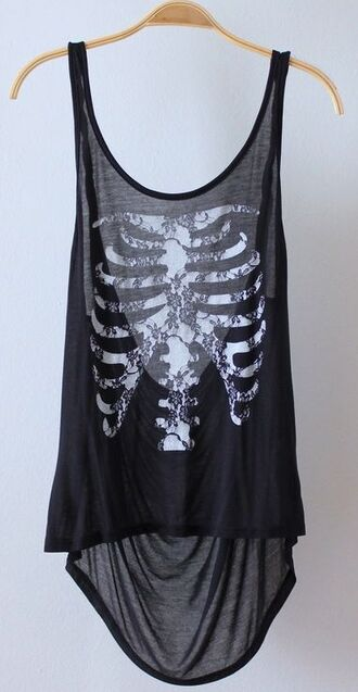 top black top skeleton skull flowers ribcage tank top black grey white lace ribs creepy goth emo halloween