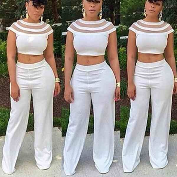 New Two Piece Crop Top and High Waist Wide-Leg White Pants Set 91e2318e6