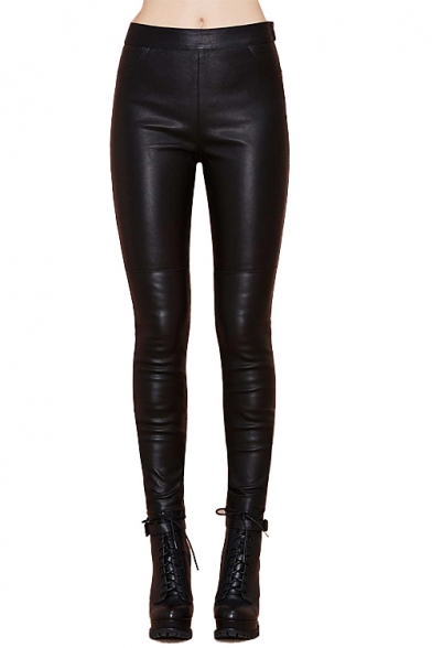 Fitted pu panel high elastic waist pant