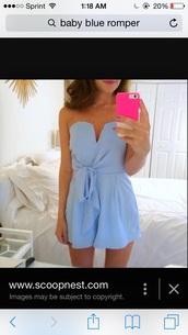 jumpsuit,baby blue