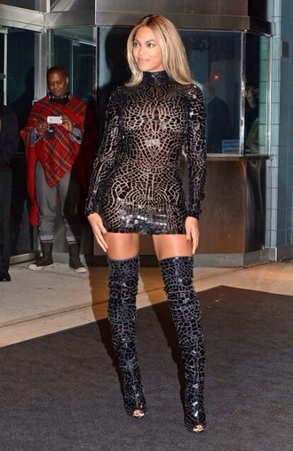 dress crackled black beyonce dress black knee high boots