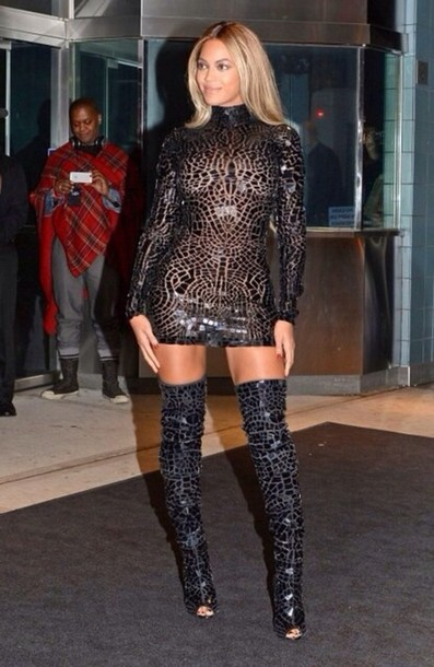 Black knee high boots dress