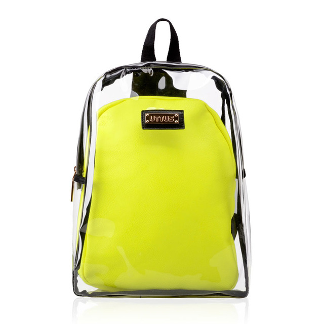 2f693c96c7 Online Shop Womens Girls  Transparent Backpack Plastic Student School Bag  Shiny Jelly Clear Summer Beach Bag ...