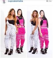 jumpsuit,dope,overalls,jeans,trill,heels,cupcake mafia,crop tops,romper,pink bandana romper,red bandana romper