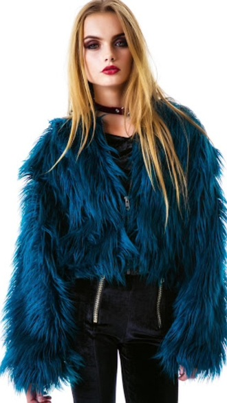 jacket blue fur fur faux fur grunge alternative style rock