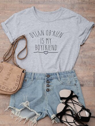 t-shirt quote on it dylan o'brien grey casual teenagers shirt zaful