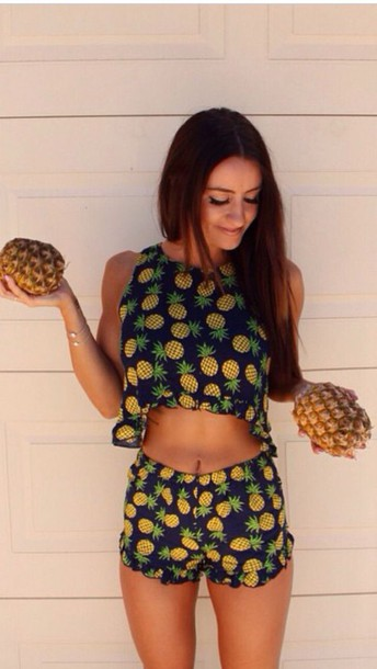 jumpsuit pineapple print super cute crop tops romper two-piece cute top flowy